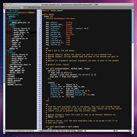 MacVim with the Railscasts color scheme and NERDTree