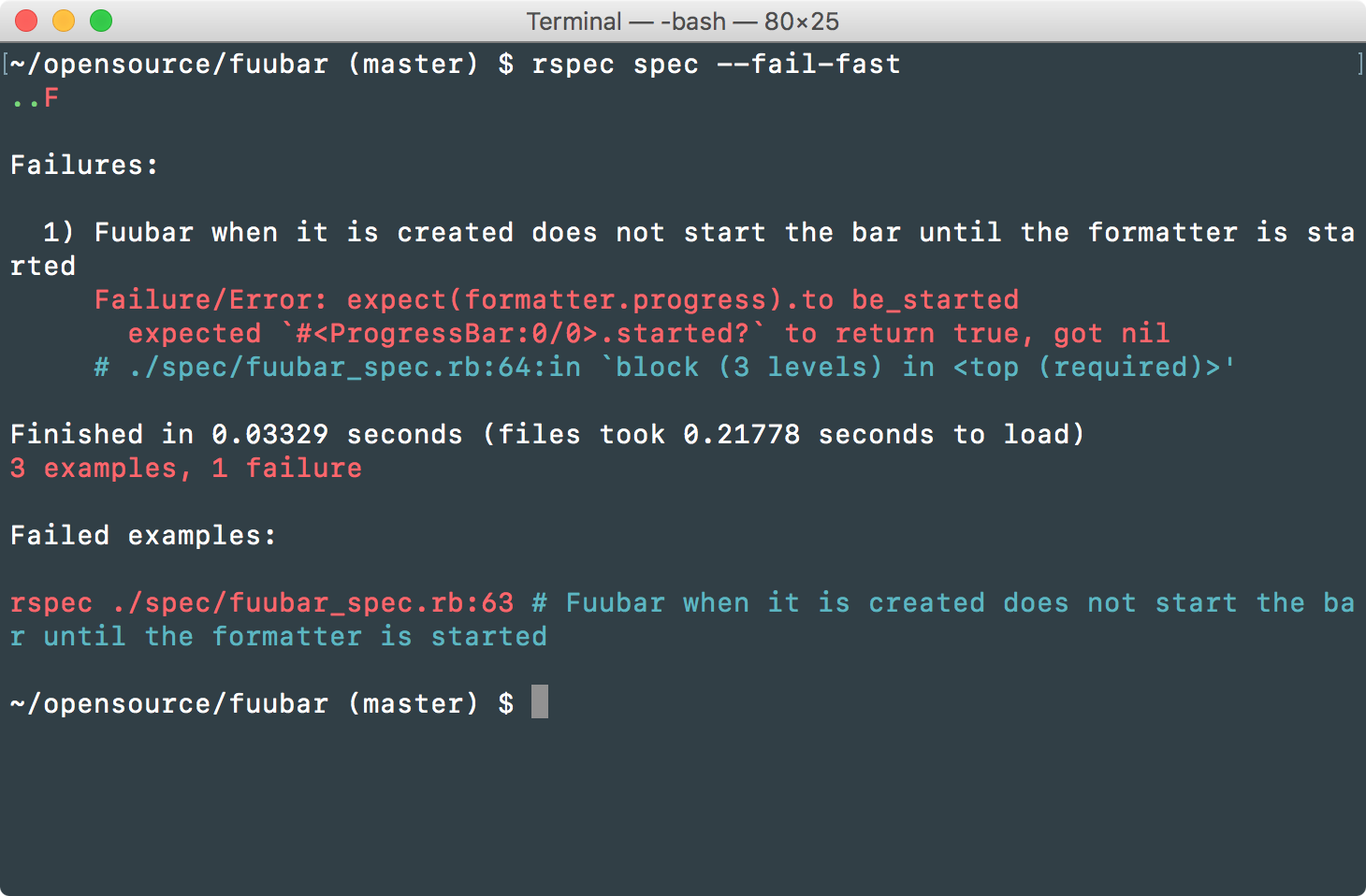 Stop RSpec on the first failure with the --fail-fast command line option